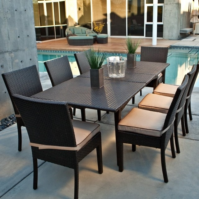 Coral Coast Vallejo All Weather Wicker Extension Dining Set Regarding Cora 7 Piece Dining Sets (Image 9 of 25)