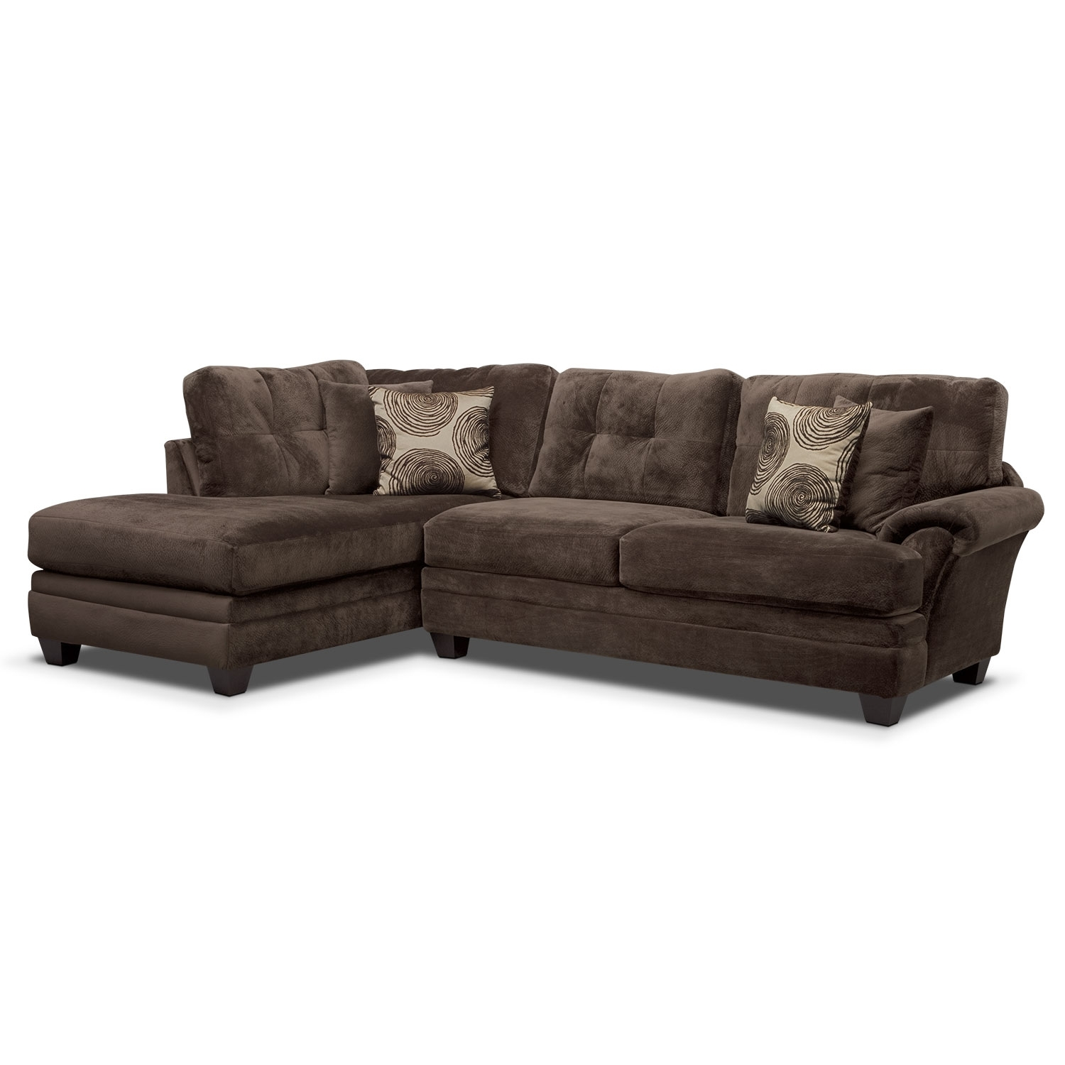 Cordelle 2 Piece Sectional With Left Facing Chaise – Chocolate Intended For Jackson 6 Piece Power Reclining Sectionals With  Sleeper (Image 12 of 25)