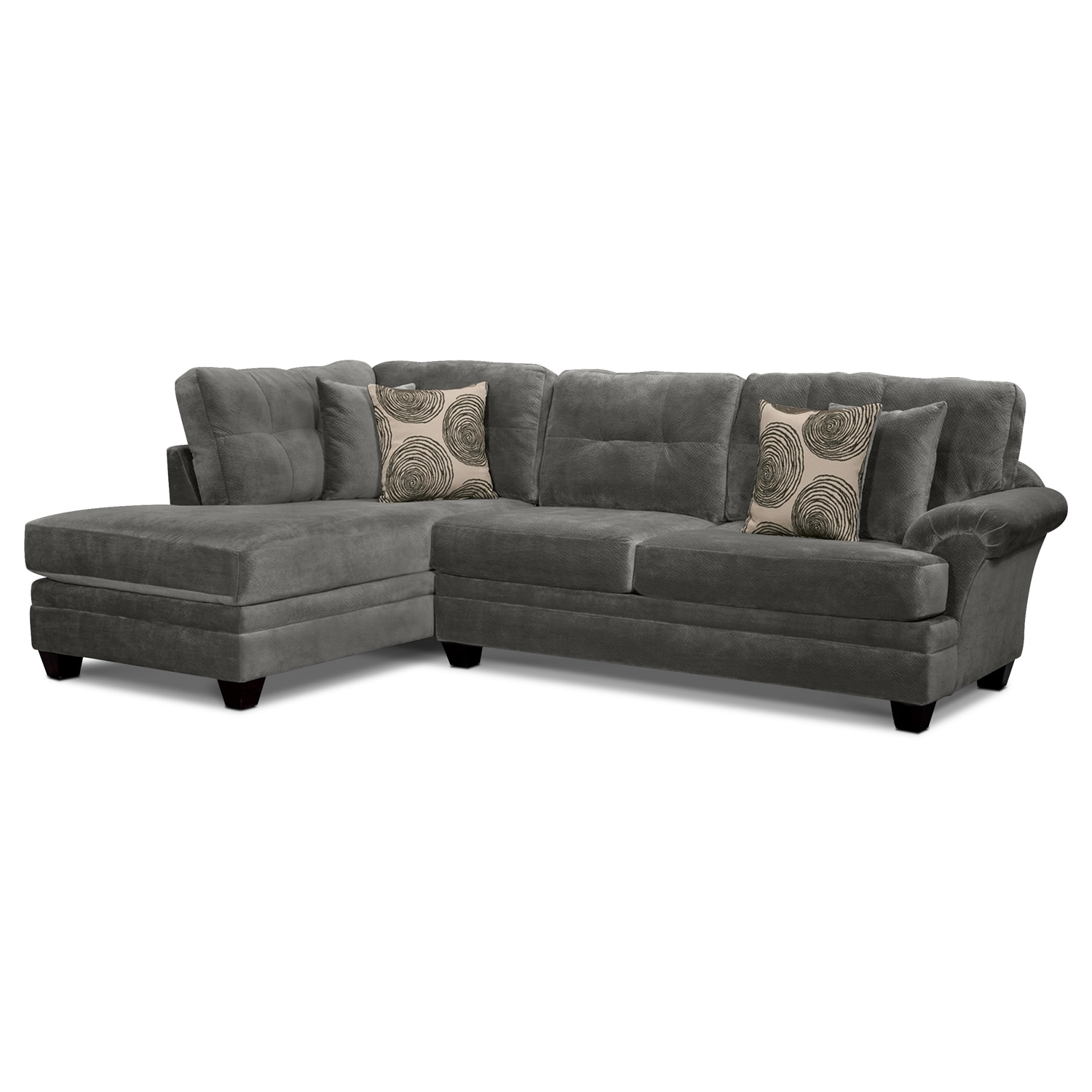 Cordelle 2 Piece Sectional With Left Facing Chaise – Gray | Value For Cosmos Grey 2 Piece Sectionals With Laf Chaise (Image 6 of 25)