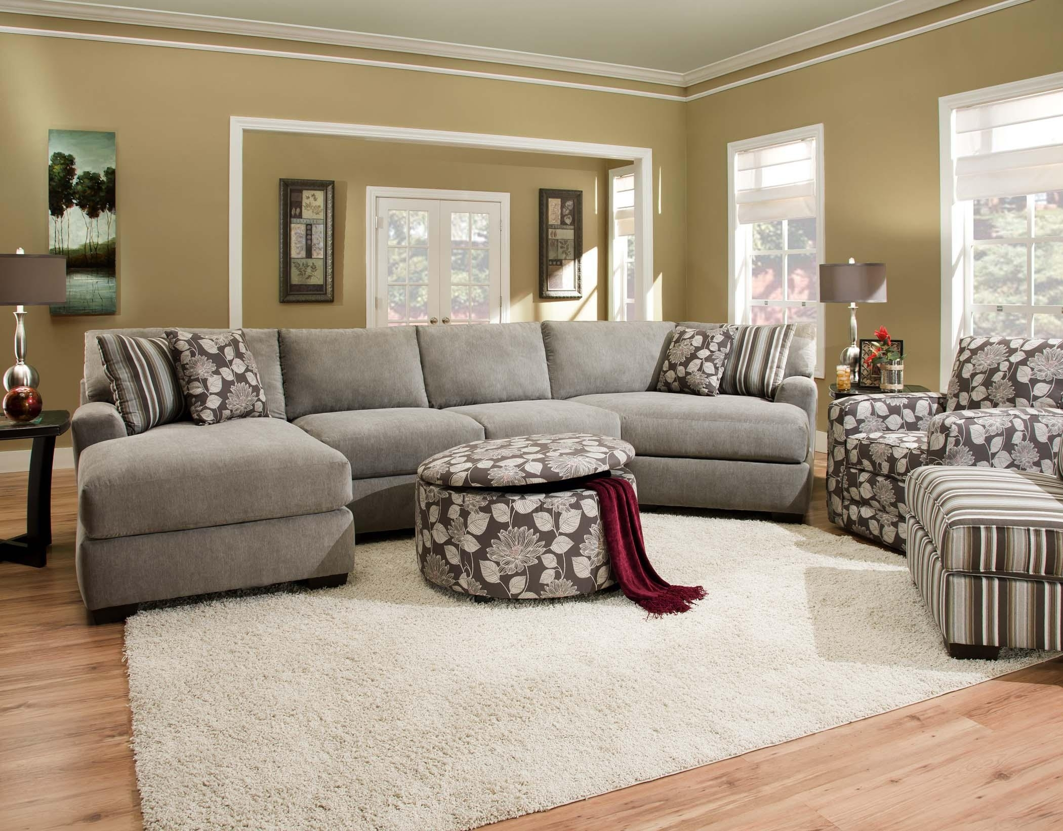 Corinthian 29A0 Sectional Sofa With 4 Seats | Standard Furniture With Josephine 2 Piece Sectionals With Raf Sofa (View 12 of 25)