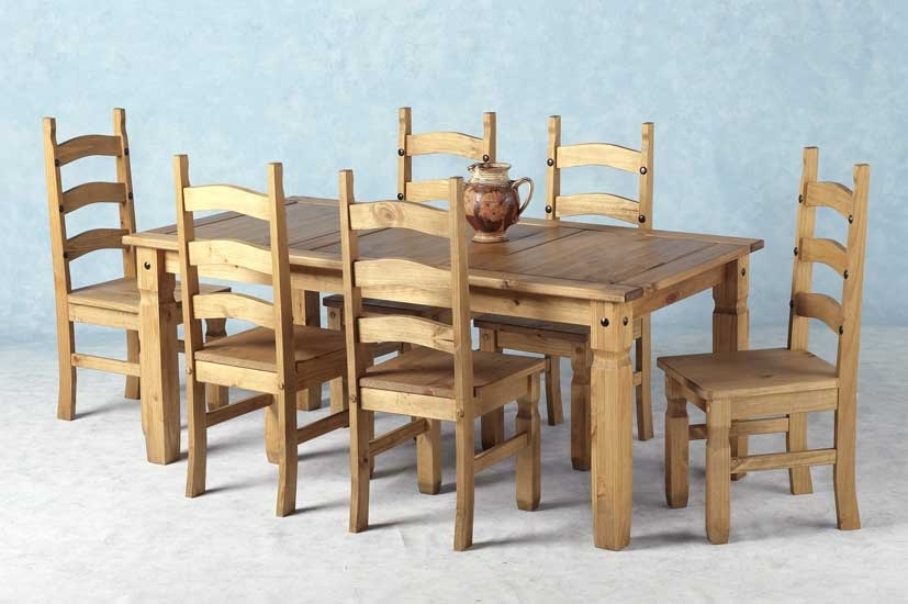 Corona Mexican Pine Dining Set 6 Dining Table & 6 Chairs Throughout 6 Chairs Dining Tables (Image 14 of 25)