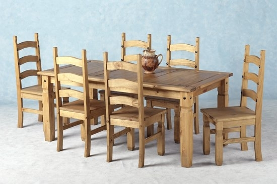 Corona Wooden Dining Set With 6 Wooden Chairs 8710 With Wood Dining Tables And 6 Chairs (View 3 of 25)
