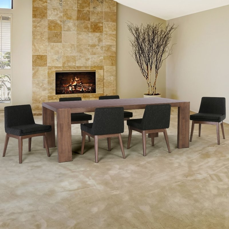 Corrigan Studio Crume 7 Piece Dining Set | Wayfair Inside Caira Black 7 Piece Dining Sets With Upholstered Side Chairs (Image 8 of 25)