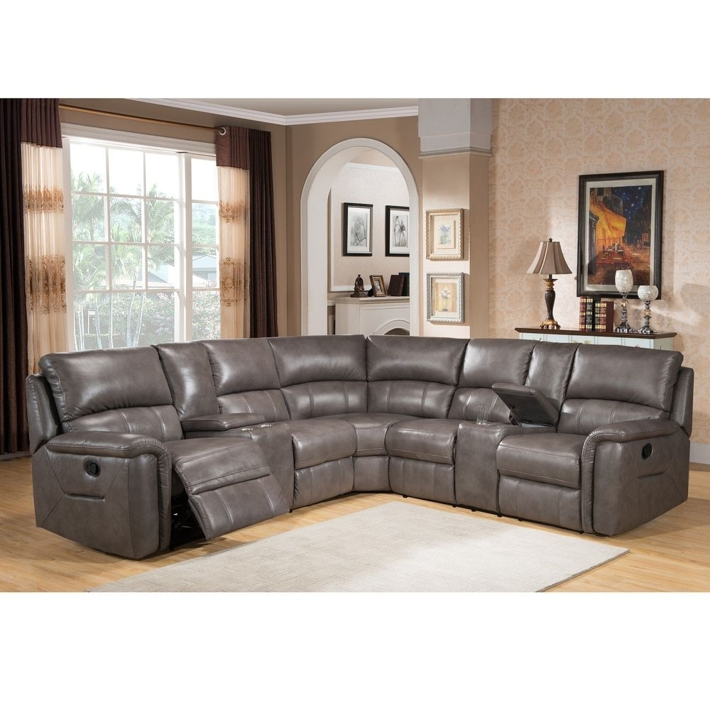 Cortez Premium Top Grain Gray Leather Reclining Sectional Sofa Inside Marcus Grey 6 Piece Sectionals With  Power Headrest & Usb (Image 10 of 25)