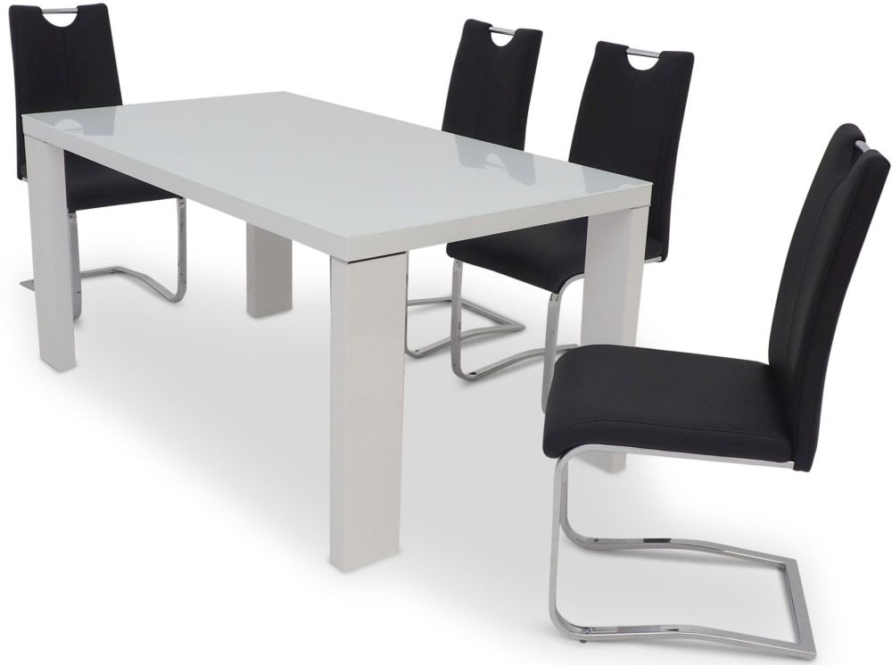Cortona 160Cm Rectangular White High Gloss Dining Set With Glass Top Intended For Black Gloss Dining Sets (Image 9 of 25)