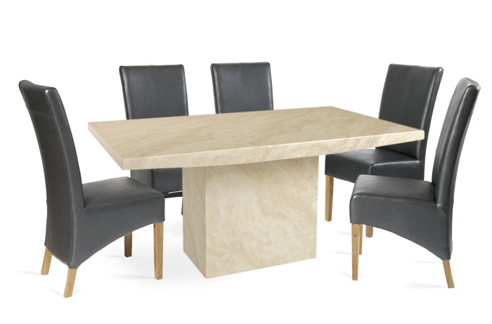 Coruna 220Cm Cream Marble Effect Dining Table With Roma Chairs Intended For Roma Dining Tables (Image 2 of 25)
