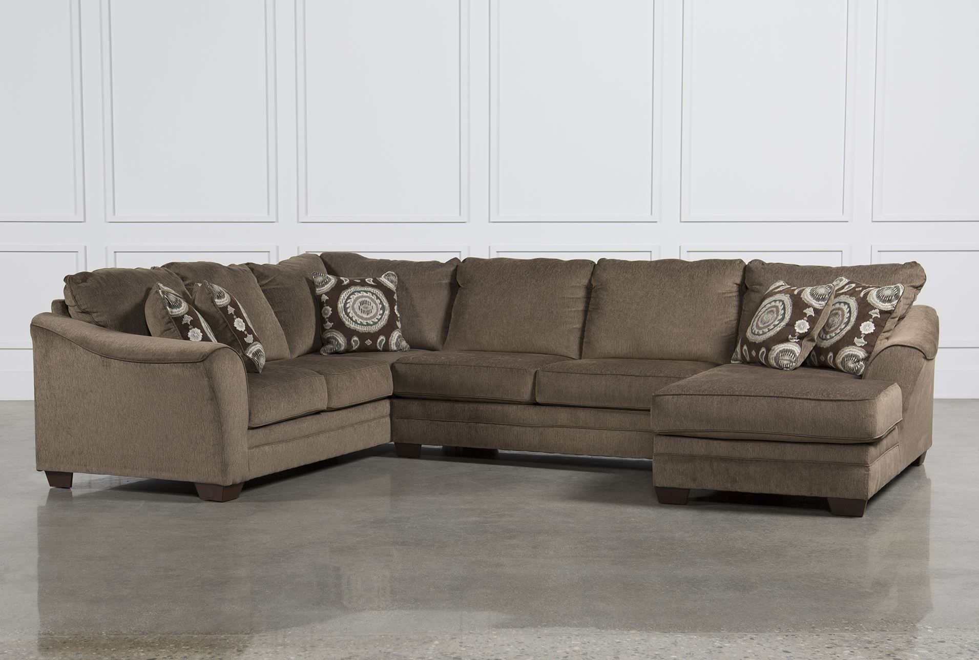 Cosmo Marble 3 Piece Sectional W/raf Chaise | Family Room For Sierra Foam Ii 3 Piece Sectionals (Image 13 of 25)