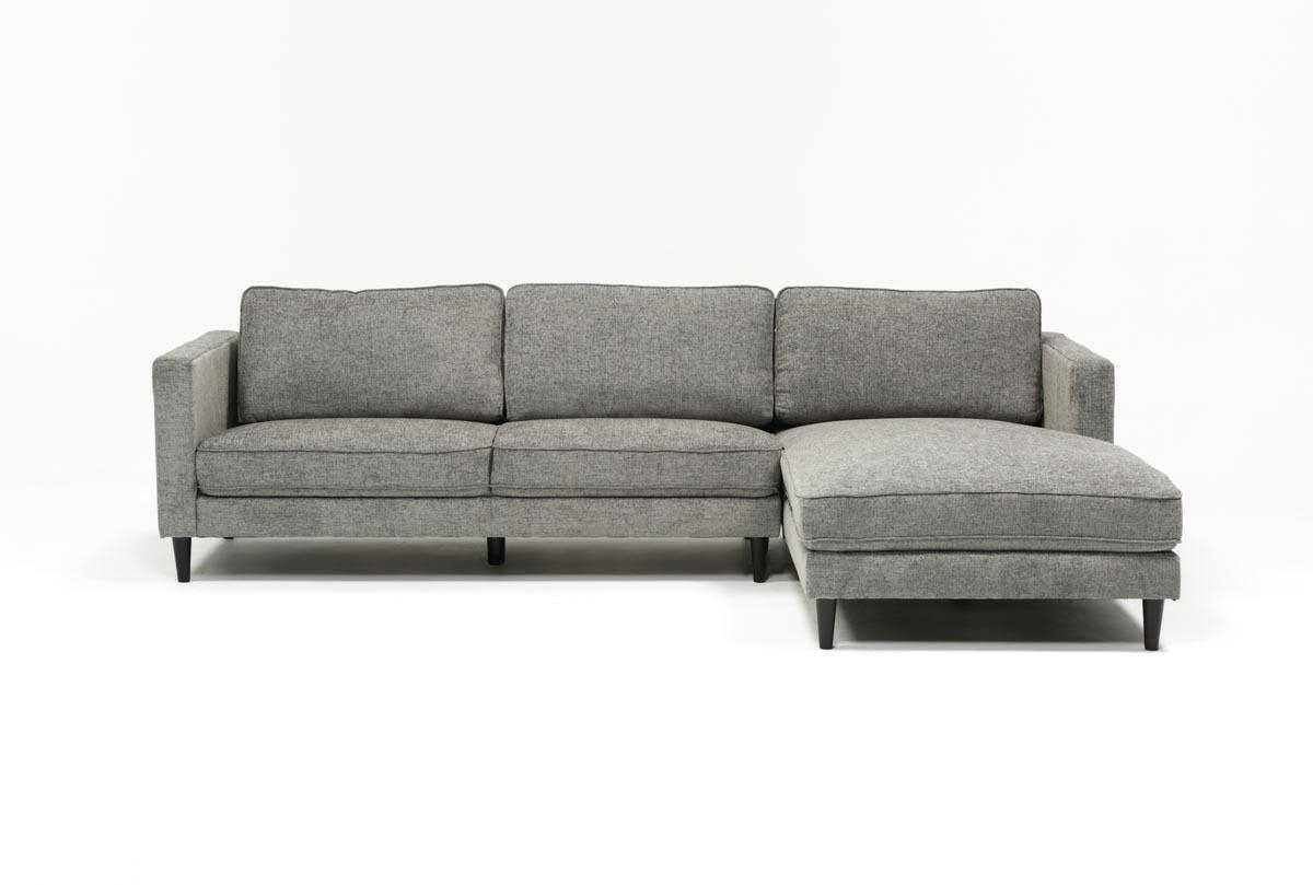 Cosmos Grey 2 Piece Sectional W/raf Chaise | Living Spaces Inside Aquarius Light Grey 2 Piece Sectionals With Raf Chaise (Image 10 of 25)
