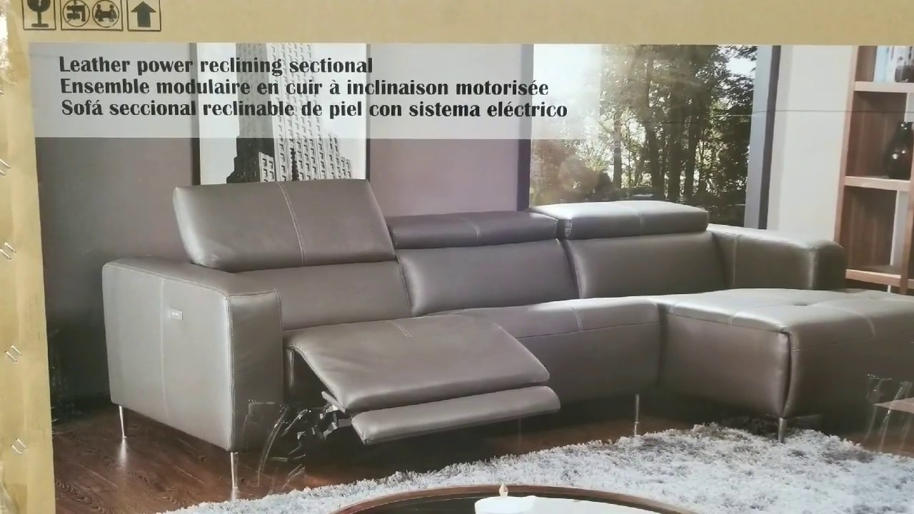 Costco! Leather Power Reclining Sectional (Modern) $1,399!!! – Youtube For Kristen Silver Grey 6 Piece Power Reclining Sectionals (Image 3 of 25)