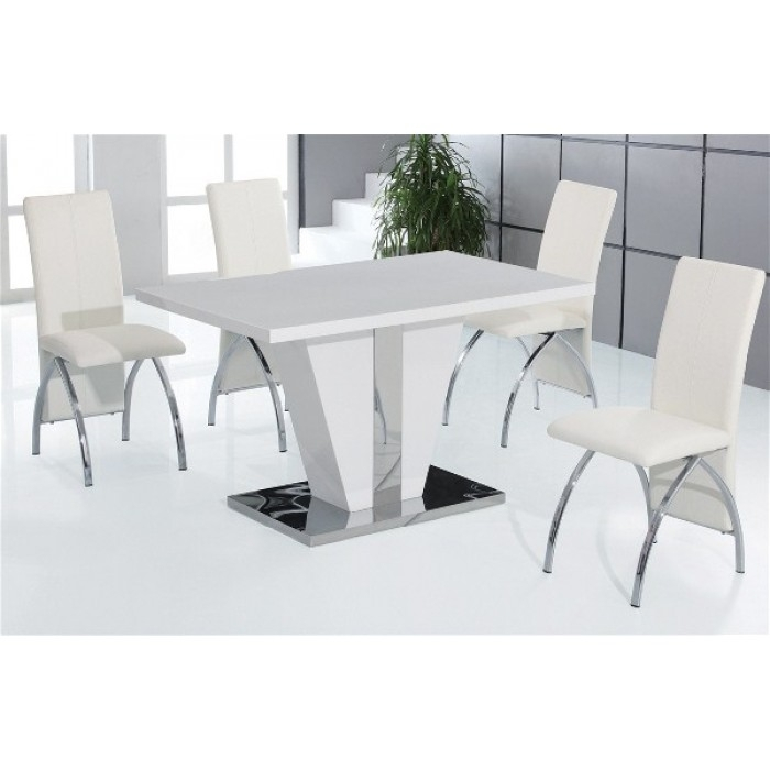 Costilla High Gloss Dining + 4 Chairs Within High Gloss Dining Tables And Chairs (Image 6 of 25)