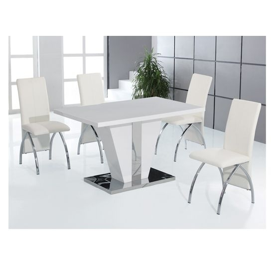 Costilla High Gloss Dining Table Set | House Ideas | Pinterest Intended For White Gloss Dining Room Tables (Image 5 of 25)