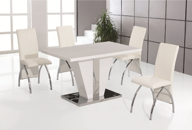 Costilla White High Gloss Dining Table With 4 White Faux Leather Throughout Chrome Dining Tables And Chairs (Image 9 of 25)