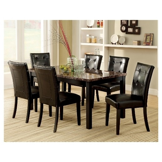 Costway 5 Piece Faux Marble Dining Set Table And 4 Chairs In Marble Dining Tables Sets (Image 7 of 25)