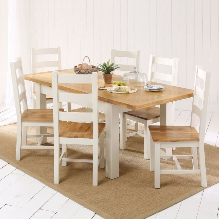 Cotswold Country Cream Painted Medium Dining Table + 6 Chair Set Inside Cotswold Dining Tables (Image 4 of 25)