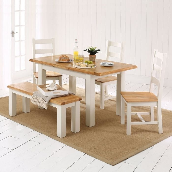 Cotswold Cream Painted Small Dining Table + 3 Chairs + 1 Bench | The For Cotswold Dining Tables (Image 5 of 25)