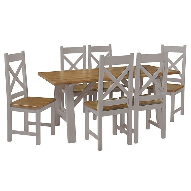 Cotswold Painted Grey Trestle Table – Brand Interiors In Cotswold Dining Tables (Image 15 of 25)