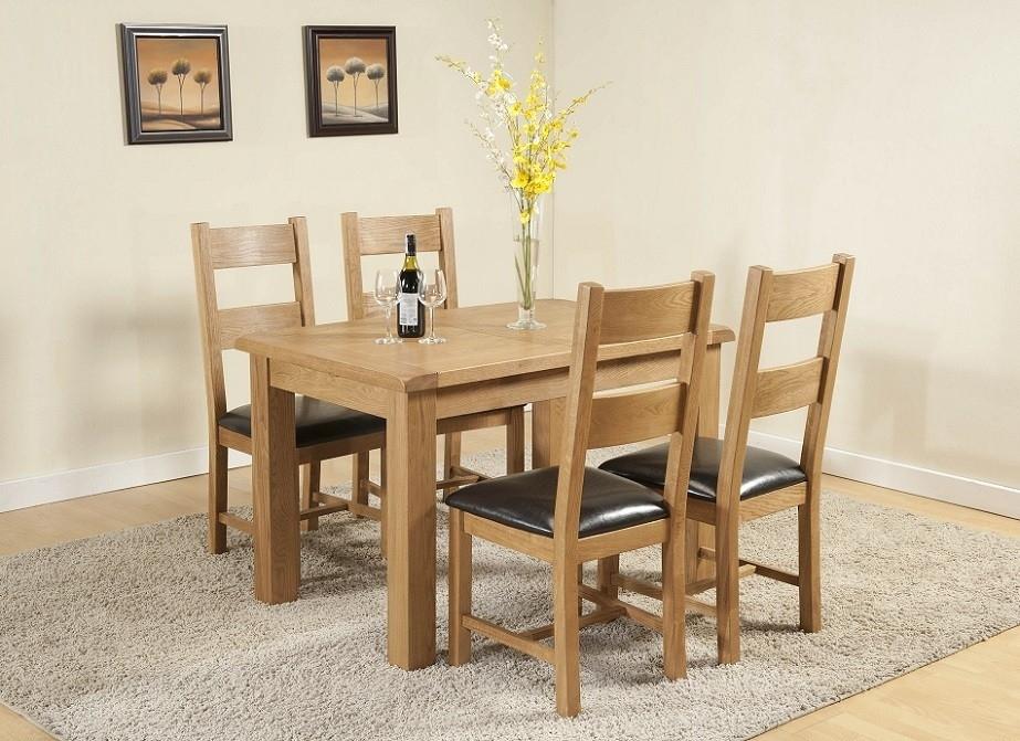 Cotswold Rustic Light Oak Small Extending Dining Table | Oak Intended For Cotswold Dining Tables (View 3 of 25)