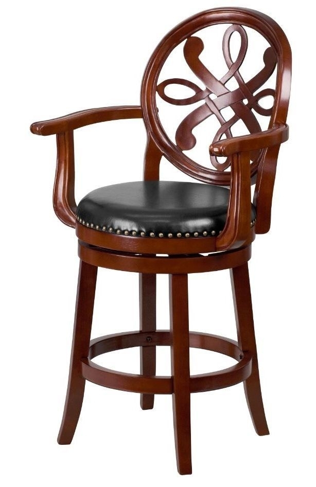 Counter Height Bar Stool Swivel High Chair Carved Wood Arms Elegant For Jaxon 5 Piece Extension Counter Sets With Fabric Stools (View 25 of 25)