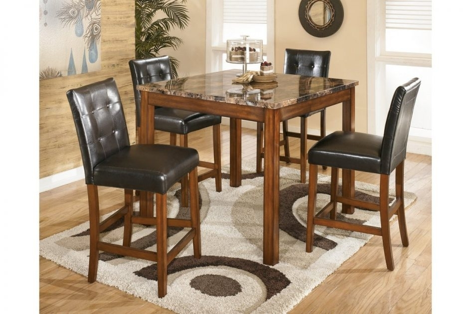 Counter Height Dining Room Table And Bar Stools Ashley Furniture 5Pc In Hyland 5 Piece Counter Sets With Stools (Image 6 of 25)