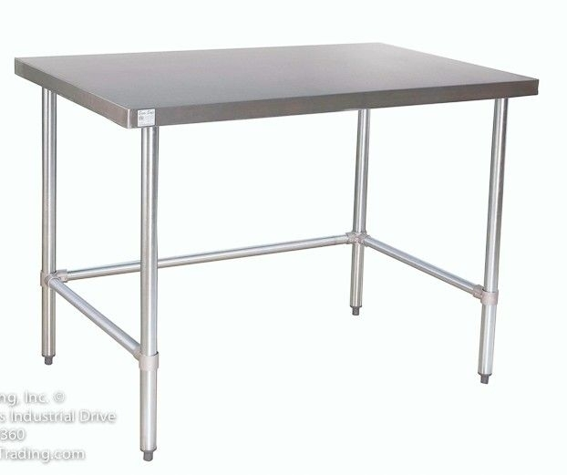 Counter Height Stainless Steel Prep Tables | Stainless Steel Work For Ina Matte Black 60 Inch Counter Tables With Frosted Glass (Image 6 of 25)