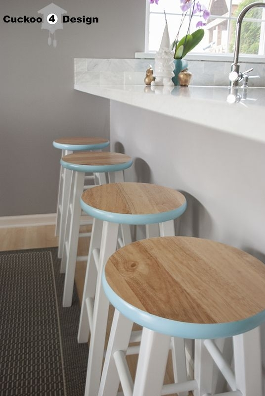 Counter Stool Makeover~Love The Pop Of Color On The Rim Of These For Laurent 7 Piece Counter Sets With Wood Counterstools (Image 6 of 25)