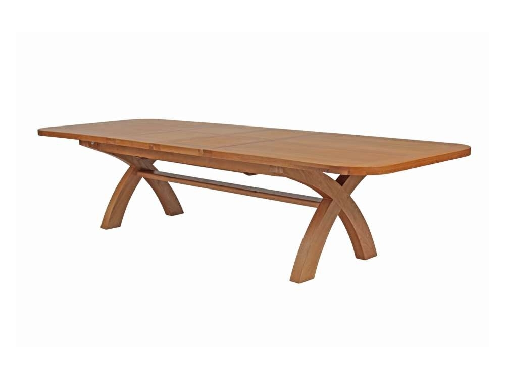 Country Oak Extra Large Extending Cross Leg Dining Table Within Dining Tables With Large Legs (Image 3 of 25)