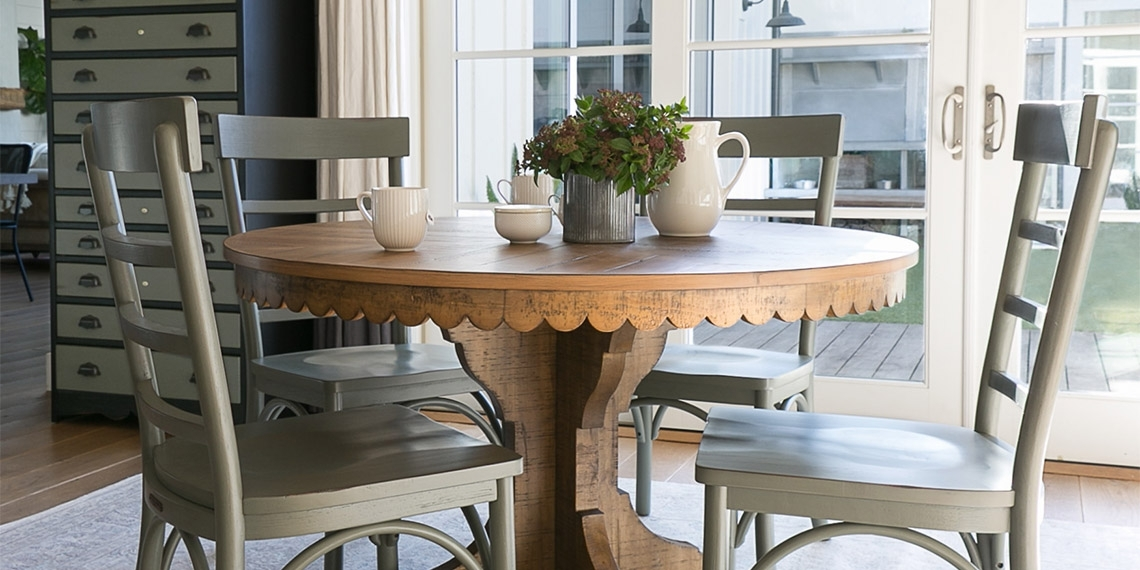 Country/rustic Dining Room With Magnolia Home Top Tier Round Table In Magnolia Home Top Tier Round Dining Tables (Image 2 of 25)