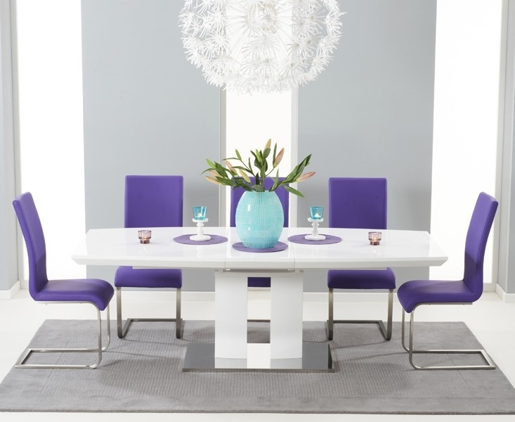 Courbe White High Gloss Extendable Dining Table in High Gloss Extendable Dining Tables
