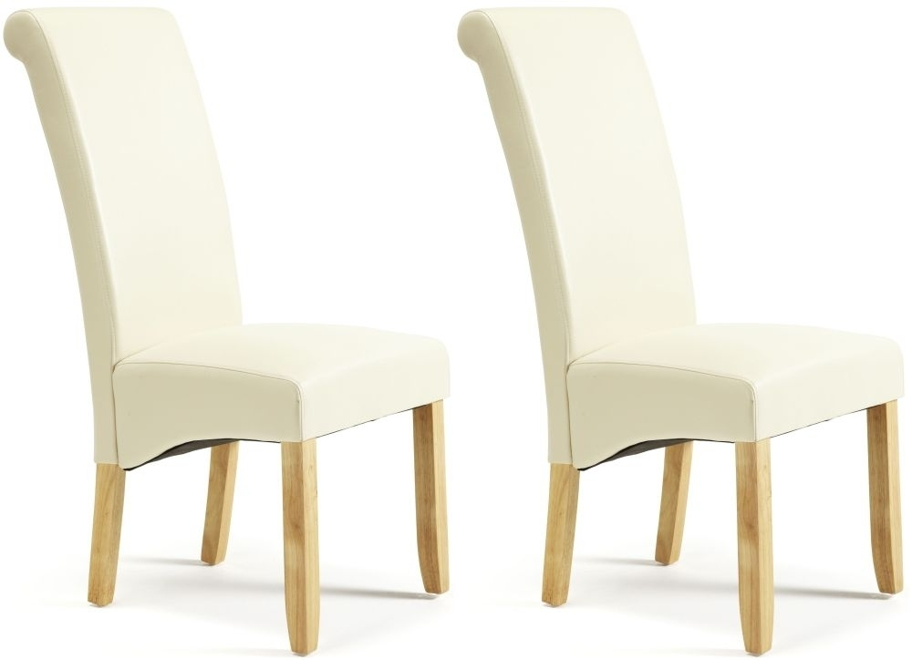 Courtland Cream Faux Leather Dining Chair With Oak Legs (Pair) Regarding Cream Faux Leather Dining Chairs (Image 6 of 25)
