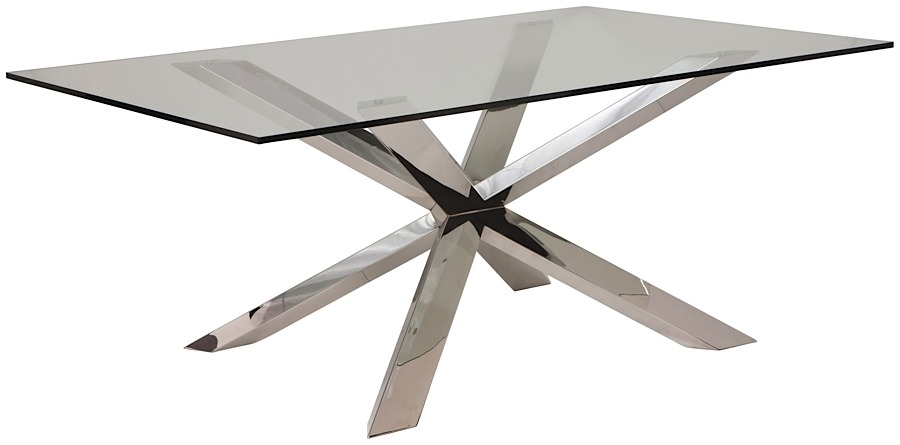 Couture Glass Dining Table | Modern Digs Furniture Regarding Glass And Stainless Steel Dining Tables (Image 5 of 25)