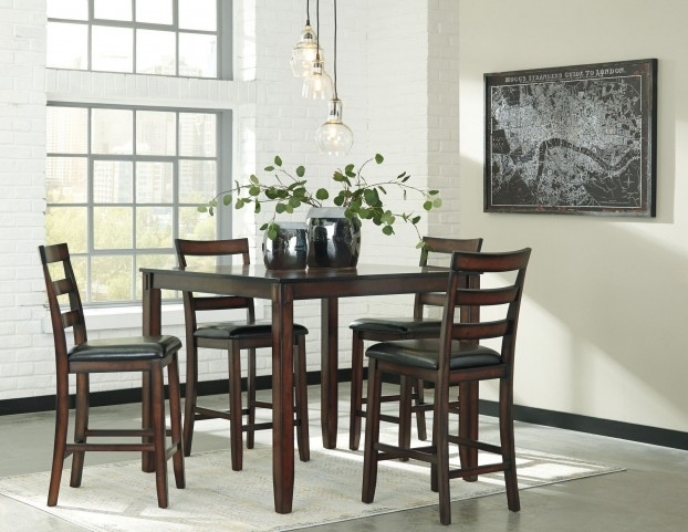 Coviar Brown 5 Piece Counter Height Dining Room Set From Ashley Intended For Hyland 5 Piece Counter Sets With Stools (Image 12 of 25)