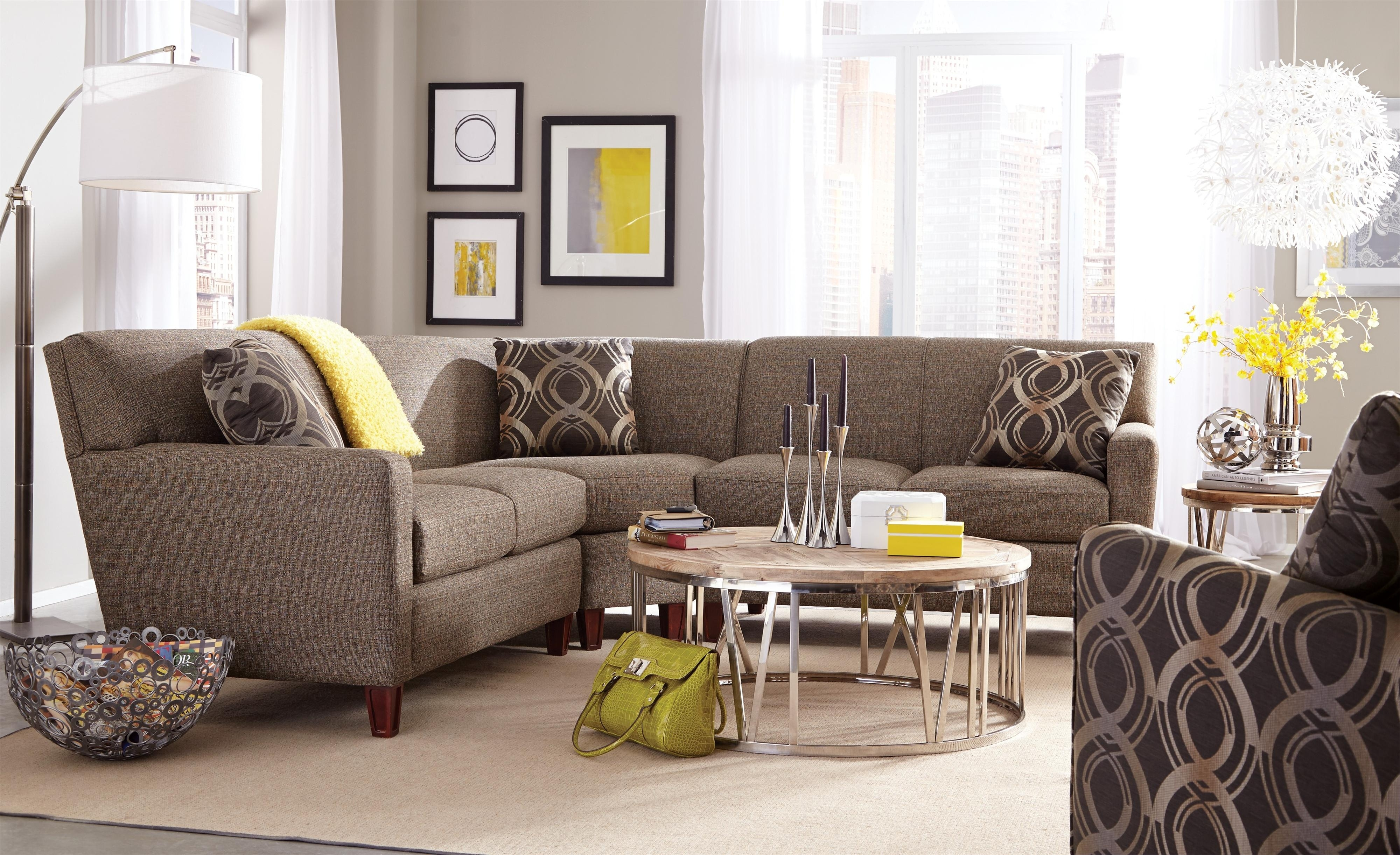 Craftmaster 7864 Three Piece Sectional Sofa With Laf Loveseat For Tatum Dark Grey 2 Piece Sectionals With Raf Chaise (Image 3 of 25)