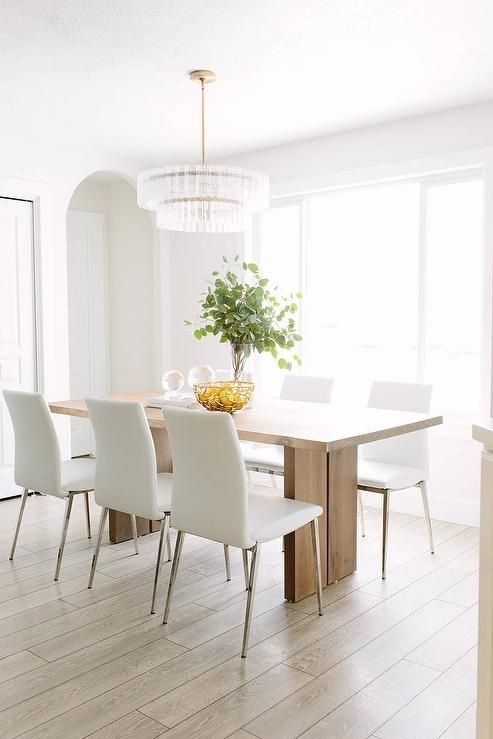 Crate & Barrel Monarch Natural Solid Walnut Dining Table | Dining Intended For White Dining Chairs (Image 6 of 25)