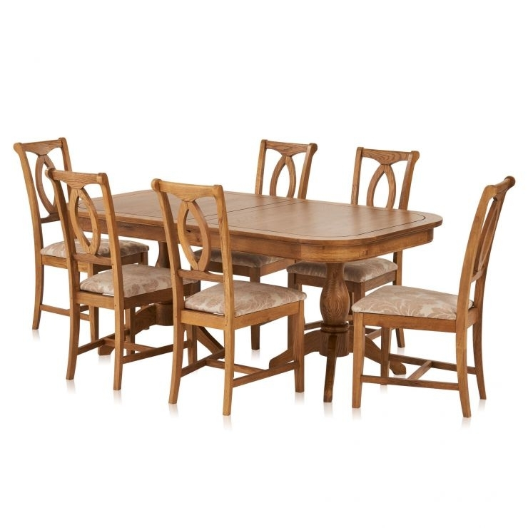 Crawford Extendable Dining Table And 6 Beige Chairs | Oak Furnitureland Pertaining To Crawford 6 Piece Rectangle Dining Sets (Image 16 of 25)