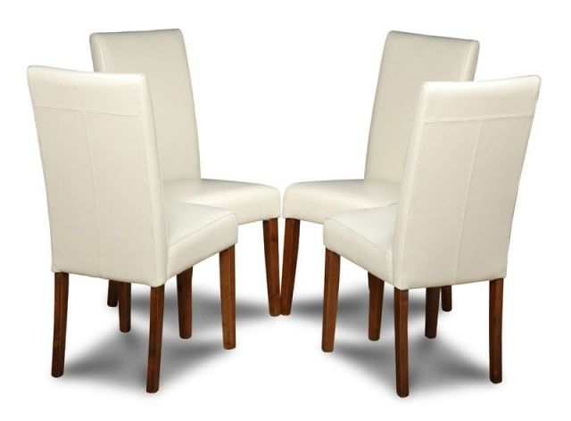 Cream Coloured Set Of 4 Leather Dining Chairs Inside Cream Leather Dining Chairs (View 8 of 25)