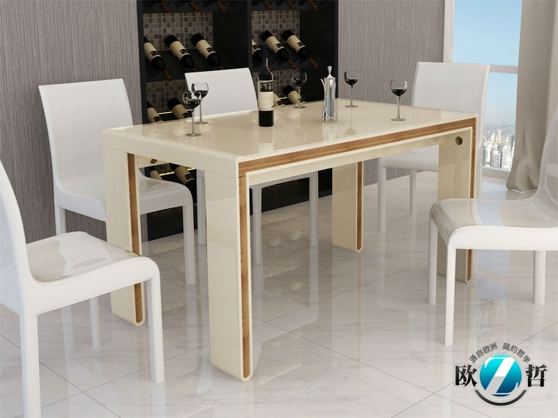 Cream Dining Room Sets Britney Cream Walnut 6Pc Dining Room Set Throughout Cream Gloss Dining Tables And Chairs (Image 4 of 25)