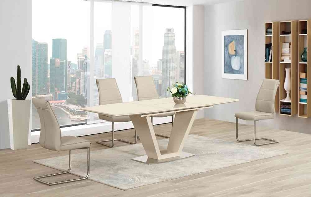 Cream Extending Glass High Gloss Dining Table And 6 Taupe Chairs With Regard To Cream High Gloss Dining Tables (Image 5 of 25)