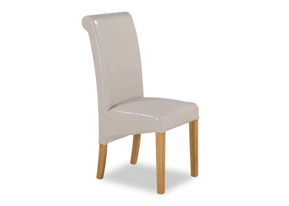 Cream Faux Leather Dining Chair With Oak Legs – Wilton – Ez Living Pertaining To Cream Faux Leather Dining Chairs (Image 7 of 25)