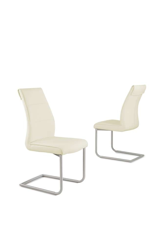 Cream Faux Leather Dining Chairs With Chrome Legs – Homegenies Inside Cream Faux Leather Dining Chairs (Image 8 of 25)