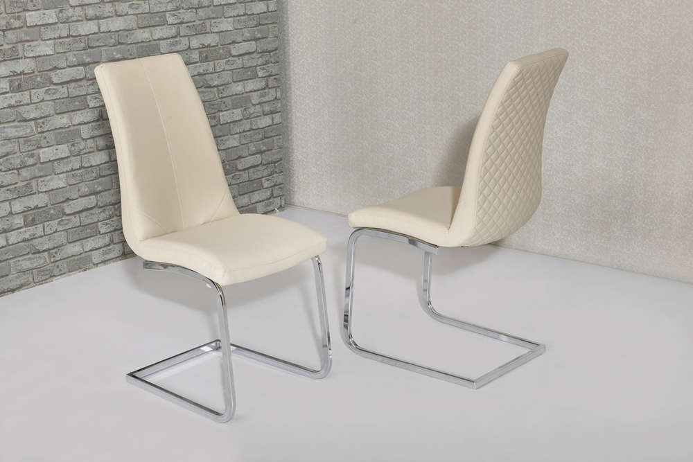 Cream Faux Leather Dining Chairs With Pattern Backs – Homegenies For Cream Faux Leather Dining Chairs (Image 9 of 25)