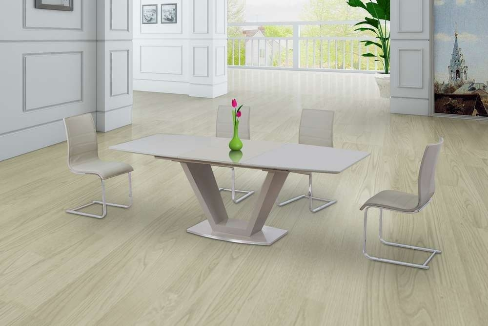 Cream Glass High Gloss Extending Dining Table And 8 Gloss Chairs Intended For High Gloss Cream Dining Tables (Image 5 of 25)