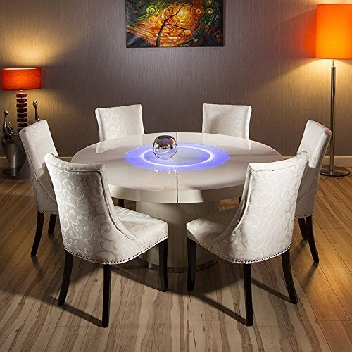 Cream Gloss Dining Table And Chairs Monaco Oval White High Gloss For High Gloss Cream Dining Tables (Image 6 of 25)