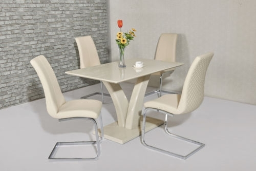 Cream High Gloss Dining Table And 4 Cream Chairs   Ebay In High Gloss Cream Dining Tables (Image 7 of 25)