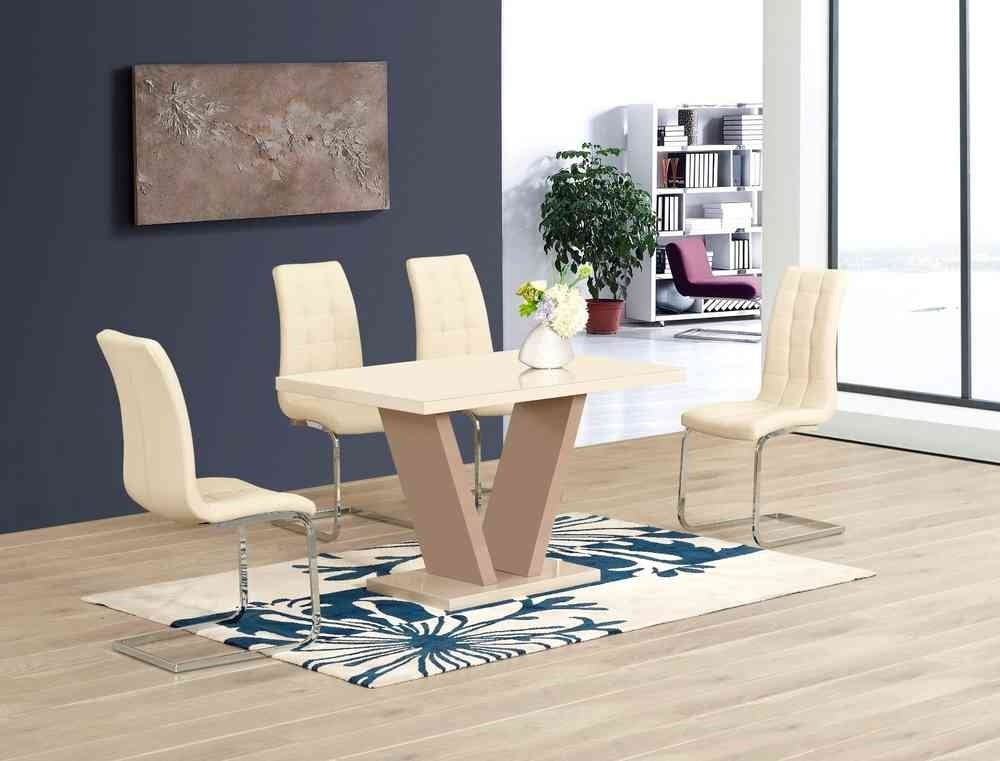 Cream High Gloss Glass Dining Table And 6 Chairs – Homegenies For High Gloss Cream Dining Tables (Image 8 of 25)