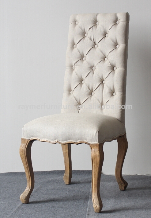 Cream Linen Button Tufted High Back Fabric Dining Chairs – Buy High Intended For Button Back Dining Chairs (Image 10 of 25)
