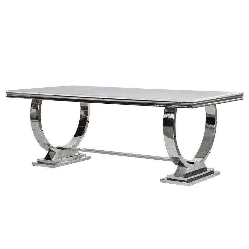 Cream Marble And Chrome Dining Table With U Shaped Legs | Dinnerware Within Chrome Dining Tables (View 15 of 25)