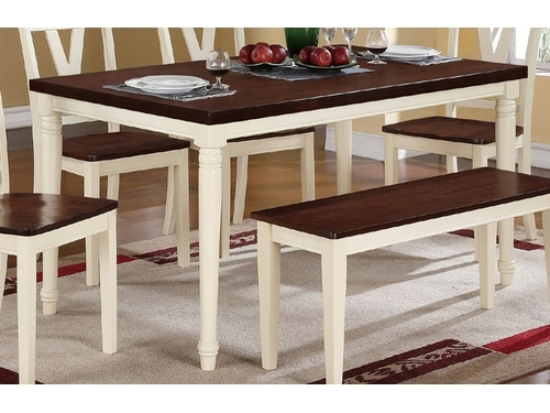 Creamy White Legs Cherry Wood Top Rectangular Dining Table – Shop For Dining Tables With White Legs (Image 3 of 25)