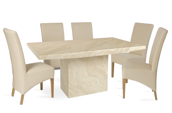 Crema 180Cm Marble Effect Dining Table With 6 Cannes Cream Chairs Within Marble Effect Dining Tables And Chairs (Image 6 of 25)