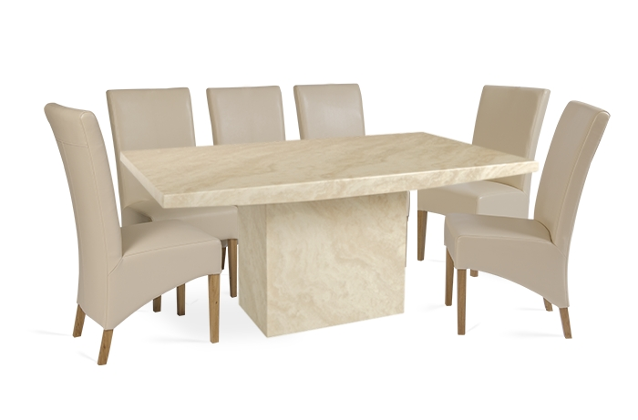 Crema 220Cm Marble Effect Dining Table With 10 Cannes Cream Chairs Intended For Dining Table And 10 Chairs (Image 14 of 25)