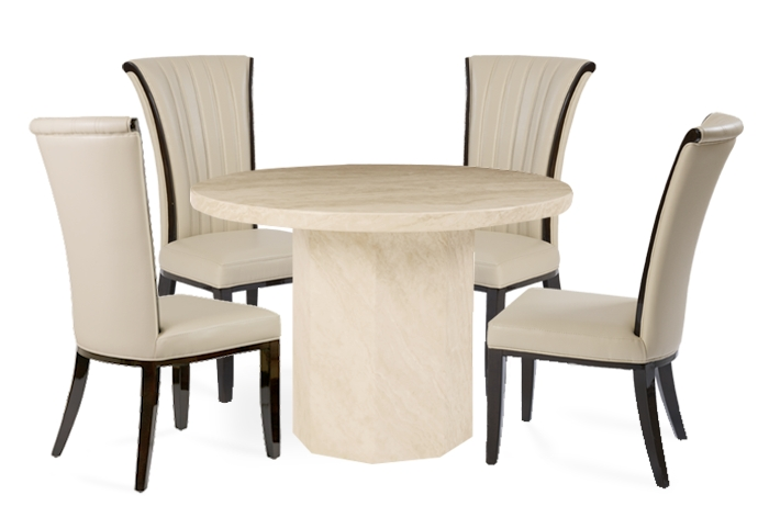 Crema Round Marble Effect Dining Table With 4 Alpine Cream Chairs In Marble Dining Chairs (View 6 of 25)